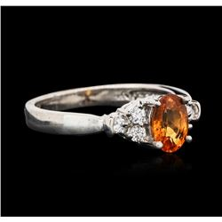 14KT White Gold 1.09ct Spessartite and Diamond Ring