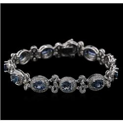 8.71ctw Blue Sapphire and Diamond Bracelet - 14KT White Gold