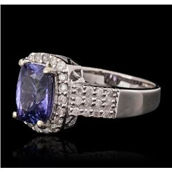 14KT White Gold 2.08ct Tanzanite and Diamond Ring