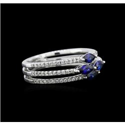 0.70ctw Blue Sapphire and Diamond Ring - 18KT White Gold