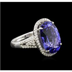 8.68ct Tanzanite and Diamond Ring - 18KT White Gold