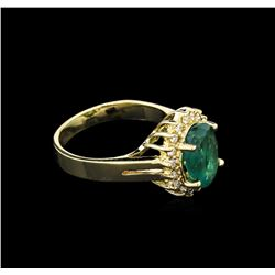 7.07ct Emerald and Diamond Ring - 14KT Yellow Gold