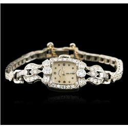 Hamilton 14KT White Gold 1.00ctw Diamond Ladies Vintage Watch