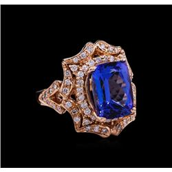 6.12ct Tanzanite and Diamond Ring - 14KT Rose Gold