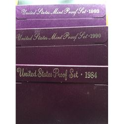 1984, 1990, 1993 proof mint sets