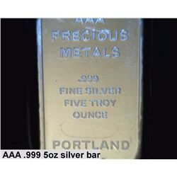 5oz .999 pure silver bar