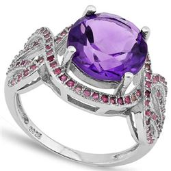Natural Amethyst & Pink Sapphire Ring