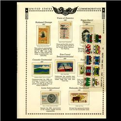 1967 US Stamp Album Page 18pcs