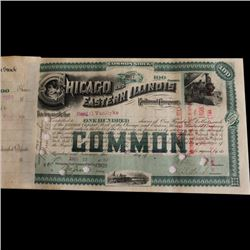 Rare 1880s Chicago Eastern Illinois Railroad Stock Certificate