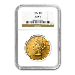 1880 $10 Liberty Gold Eagle NGC MS61