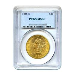 1886-S $10 Liberty Gold Eagle PCGS MS62