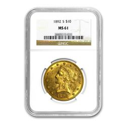 1892 $10 Liberty Gold Eagle NGC MS61