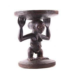 African Luba Female Caryatid wood stool, Democratic