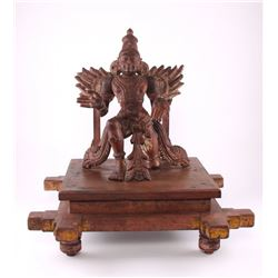Antique Garuda wood carving Vahana of Lord Vishnu with