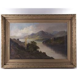"Mason, Jackson, ""Eagle Cliff at Profile Lake, New Hampshire. Signed a on painting and has an 1876 ol"
