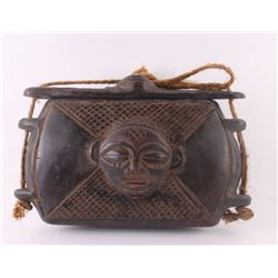 African Kuba box, carved from wood by Kuba Kingdom