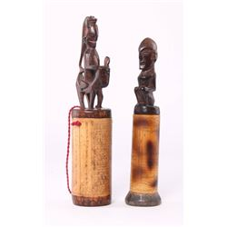 Two (2) African Hand-carved and engraved Bamboo and