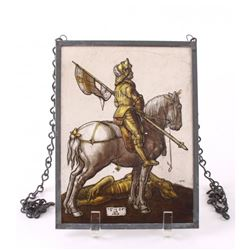 Albrecht Durer (After), glass painting of Saint George.