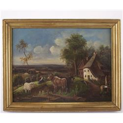 Unsigned antique painting, c.1900's oil on canvas, recent restoration. Farm/ landscape scene with fa