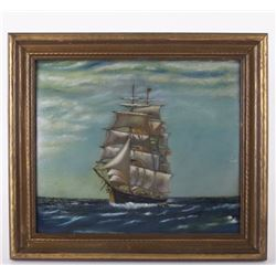 Unsigned antique painting, oil on canvas of a large ship in rough seas.