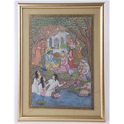 Exquisite painting of Shiva praying with Parvati