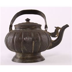 Antique Japanese Tetsubin teapot with incised