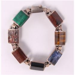 Sterling silver bracelet with onyx, malachite, lapis