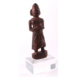 Antique Nepalese (Nepal) stained wood idol carving of