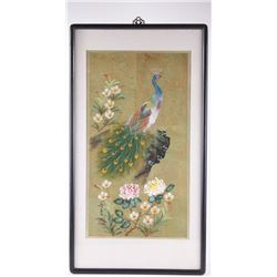 Chinese oil painting of a peacock atop a cliff gazing