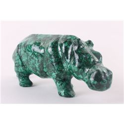 African Malachite sculpture of a  Hippopotamus.  SIZE: