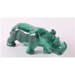 African Malachite sculpture of a  Rhinoceros.  SIZE: