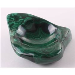 African Malachite sculpture of a dish.  SIZE: see