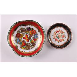 "Two small painted Austrian enamel plates.  ""Hand"