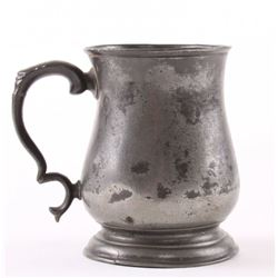 19th Century pewter mug, stamped with a crown touch