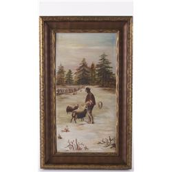 Unsigned, vintage oil on canvas possibly French origin. Ca.1900 A farmer tending his sheep. A