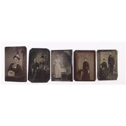 Five (5) antique tin types of woman and couples.  A