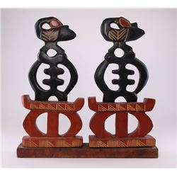African, Ghana handcrafted red and black stained wood