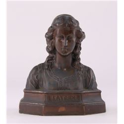 Beatrice bookend made by Armor Bronze.  From the late