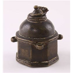Antique Bronze/Brass Inkwell with weighted lid to