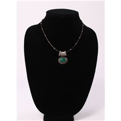Sterling silver necklace with malachite charm, marked