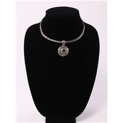 Solid sterling silver twisted rope necklace with silver