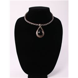 Art Deco style sterling silver necklace with large onyx
