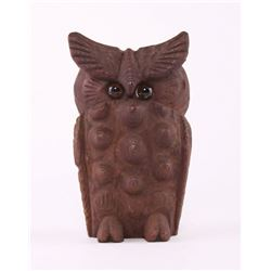 Carved Wood Owl  SIZE: see attached ruler photo.