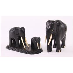 Family of ebony wood Elephants.  SIZE: see attached