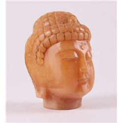 Hand carved Chinese amber Buddha head.  SIZE: see