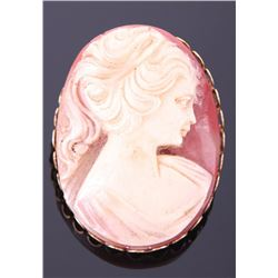 Cameo pendant/brooch of a beautiful Victorian woman.