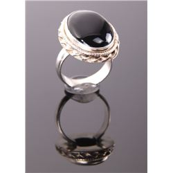 Black onyx sterling silver ring.  Ring Size: 7.5.
