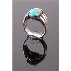 Native American Indian  green turquoise sterling silver