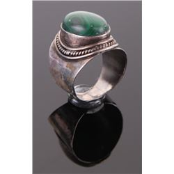 Antique malachite and sterling silver ring.