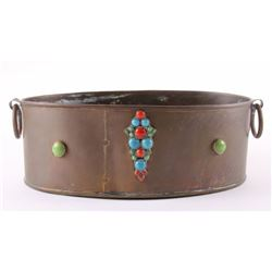 Antique copper planter with multi precious stones and